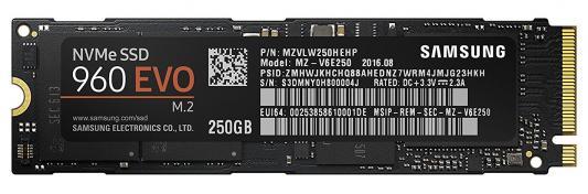SSD Твердотельный накопитель M.2 250Gb Samsung 960 EVO Read 3200Mb/s Write 1900Mb/s PCI-E MZ-V6E250BW твердотельный накопитель ssd m 2 1tb samsung 960 pro read 3500mb s write 2100mb s pci e mz v6p1t0bw
