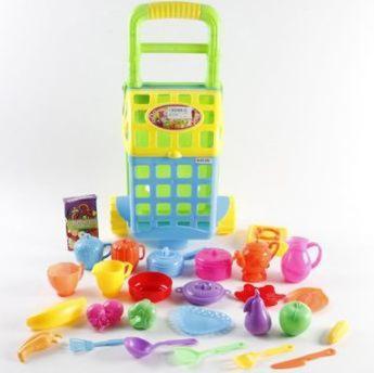 Игровой набор Shantou Gepai Посуда и продукты в зеленой тележке 27 предметов 070-079A ролевые игры игруша игровой набор продукты 10 предметов