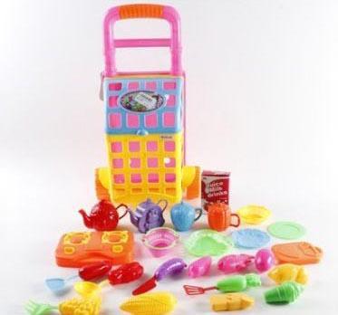 Игровой набор Shantou Gepai Посуда и продукты в розовой тележке 23 предмета 070-079