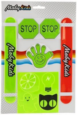 Набор светоотражающий Moby Kids: 2 хлоп браслета, 7 наклеек moby kids для прыжков со звуком красный