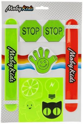 Набор светоотражающий Moby Kids: 2 хлоп браслета, 7 наклеек надувная игрушка колотушка fifa хлоп палки 2 шт 60х10 см