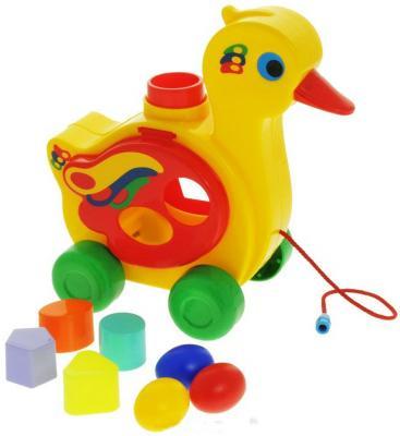Каталка на шнурке Полесье Уточка-несушка пластик от 1 года на колесах желтый 6219 каталка playgo play 1765 пластик от 1 года на колесах разноцветный