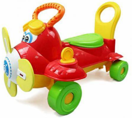 Каталка Shantou Gepai Самолетик пластик от 3 лет на колесах красный со звуком Y360963 каталка наша игрушка самолетик y360963