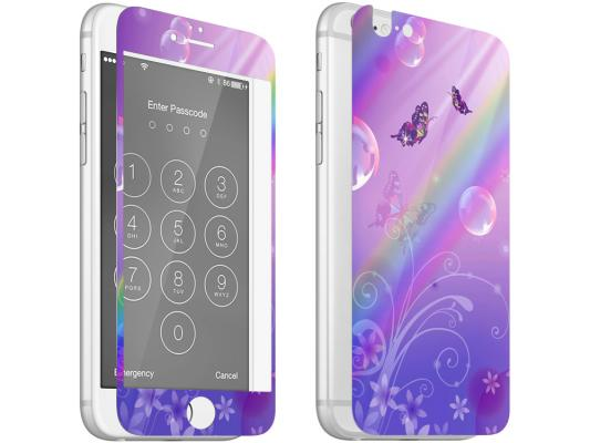 Комплект для защиты из 2 цветных стекол для iPhone 6/6S DF iPicture-03 (Butterfly)