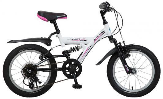 Велосипед Novatrack Dart 16 белый 5 скоростей, Microshift, алюм.обода, амортизатор велосипед novatrack a формула 16 2016 сине белый 167formula bl6