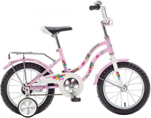"""Велосипед двухколёсный NOVATRACK 14"""" TETRIS, розовый, тормоз нож, крылья цвет, багажник хром"""