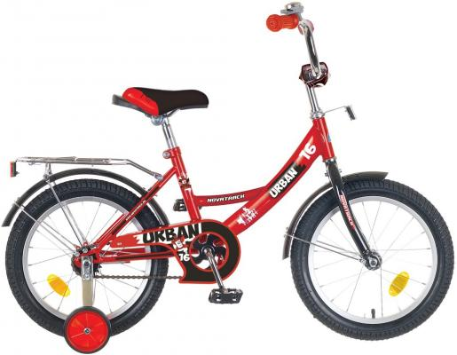 """Велосипед двухколёсный NOVATRACK 12"""", URBAN, красный, тормоз нож., цветн.крылья, багажник хром., упр"""