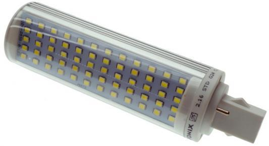 Лампа светодиодная G24 12W 6500K кукуруза прозрачная PL-12W-G24-60SMD-CL/CW 9281