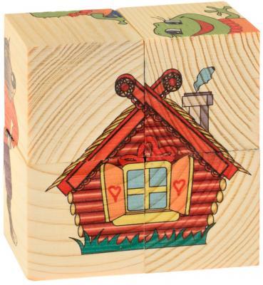Кубики Русские деревянные игрушки Теремок от 1 года 4 шт 505 деревянные игрушки теремок кубики веселый счет 15 шт