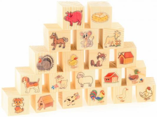 Кубики Русские деревянные игрушки На ферме от 3 лет 20 шт Д155d развивающие деревянные игрушки кубики животные