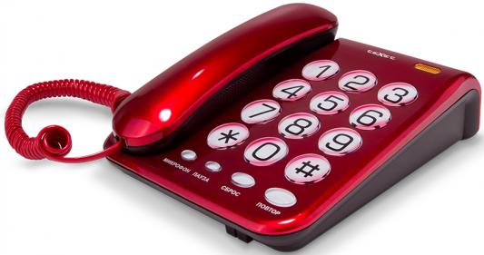 Телефон проводной Texet TX-262 красный