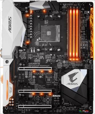 Мат. плата для ПК GigaByte GA-AX370-GAMING 5 Socket AM4 AMD X370 4xDDR4 3xPCI-E 16x 3xPCI-E 1x 8xSATAIII ATX Retail материнская плата gigabyte ga ax370 gaming k7