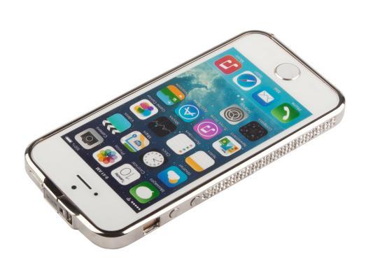 Бампер для iPhone 5/5S со стразами металл (серебристый/белые стразы) CD126246