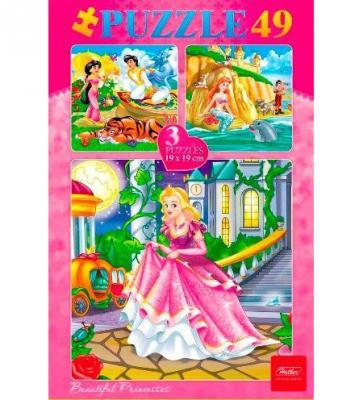 Купить Пазл 3-в-1 49 элементов Hatber Сказки для девочек 49ПЗ5_10669, Пазлы-картины