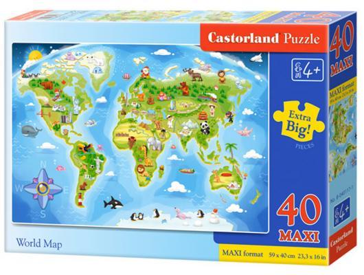 Пазл 40 элементов Кастор Карта мира В-040117 пазл кастор в аэропорту 40 элементов