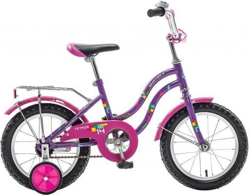 """Велосипед двухколёсный NOVATRACK 14"""" TETRIS, фиолетовый, тормоз нож., крылья цвет., багажник хром."""