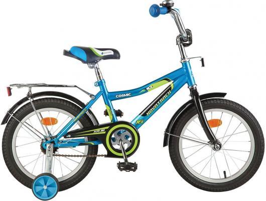 """Велосипед двухколёсный NOVATRACK 14"""" COSMIC, синий, тормоз нож, крылья, багажник хром."""
