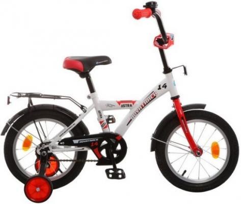 """Велосипед двухколёсный NOVATRACK 14"""" ASTRA белый, защита А-тип, крылья и багажник хром."""