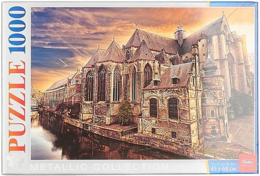 Пазл Hatber 1000 А2ф 450х680мм Металлик  Старинный замок_Собор в Генте