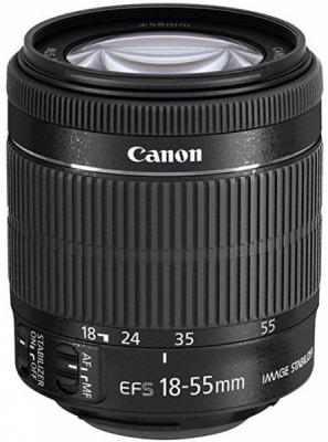 Объектив Canon EF-S IS STM 18-55мм f/3.5-5.6 черный 8114B005 объектив canon ef s 18 55 mm f 3 5 5 6 is stm kit silver