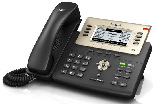 Телефон IP Yealink SIP-T27G 6 SIP-аккаунтов 2x10/100/1000Mbps 3.66 LCD PoE BLF телефон ip grandstream gxp1760 6 линий 3 sip аккаунта 2x10 100mbps lcd poe blf