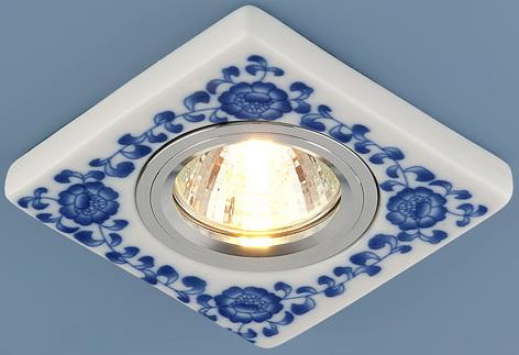 Встраиваемый светильник Elektrostandard 9034 керамика MR16 бело-голубой (WH/BL) 4690389018770