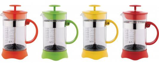 Френч-пресс Wellberg WB-9934 жёлтый 0.6 л стекло френч пресс wellberg trendy цвет оранжевый прозрачный 350 мл 9933 wb