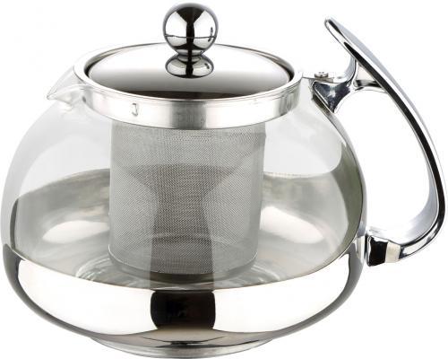 Чайник заварочный Wellberg WB-6861 серебристый 0.7 л металл/стекло