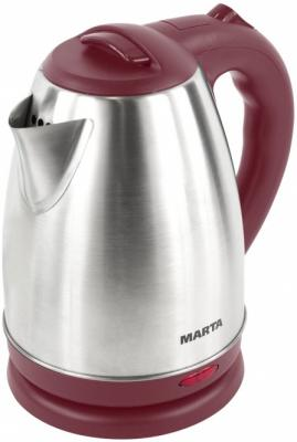 Чайник Marta MT-1083 1800 Вт красный гранат 2 л нержавеющая сталь чайник электрический marta mt 1092 красный гранат