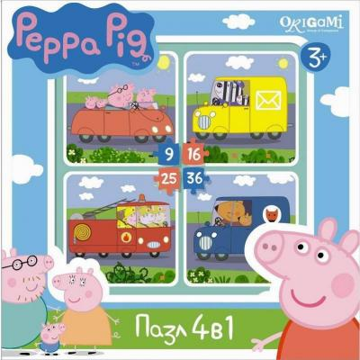 Пазл 4-в-1 36 элементов ОРИГАМИ Peppa Pig 4в1 Транспорт 1597 пазл 4в1 в королевстве ben