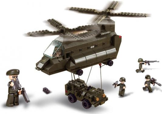 Конструктор SLUBAN Армия - Грузовой вертолет и джип 370 элементов M38-B6600 конструктор sluban военно морской флот авианосец крейсер 615 элементов m38 b0390