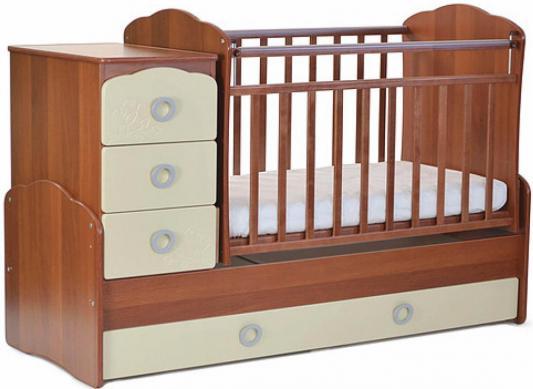 Кроватка с маятником СКВ-9 (орех-бежевый/фасад птички/941037-9)